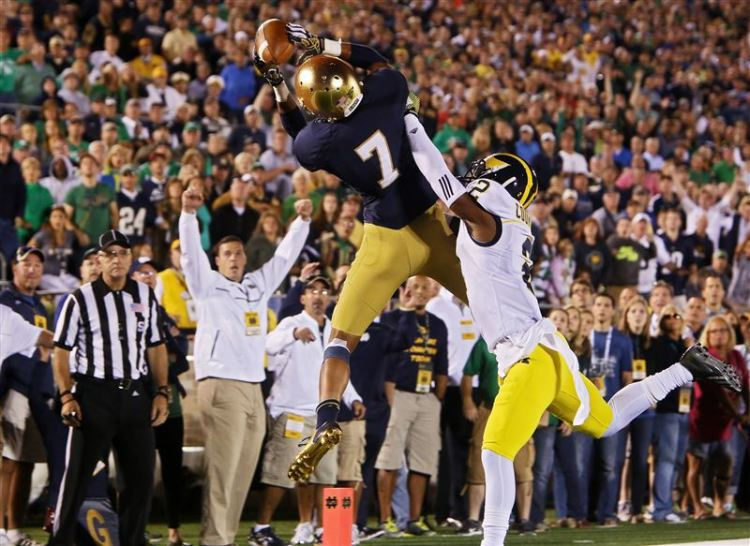 Will Fuller catches TD pass over Michigan's Blake Countess by Nick Gonzales/The Elkhart Truth