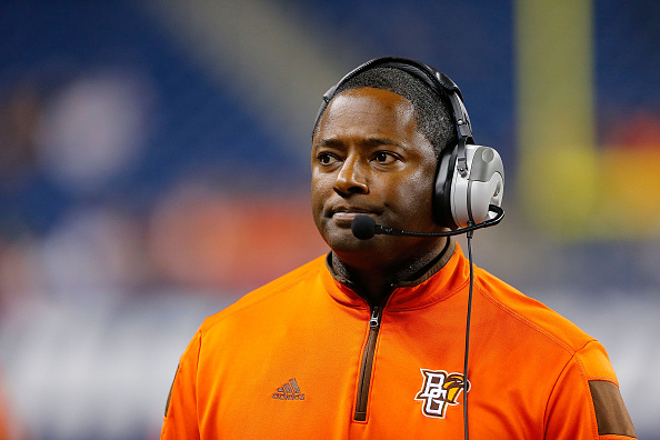 DETROIT, MI - DECEMBER 05: Bowling Green State University head football coach Dino Babers watches the action during the Mid-American Conference Championship game against Northern Illinois University at Ford Field on December 5, 2014 in Detroit, Michigan. The Huskies defeated the Falcons 51-17.  (Photo by Leon Halip/Getty Images)