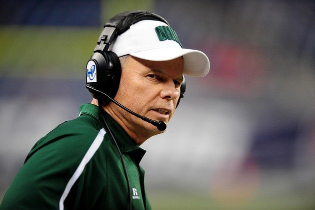 Dec 2, 2011; Detroit, MI, USA; Ohio Bobcats head coach Frank Solich during the MAC Championship against the Northern Illinois Huskies at Ford Field. Mandatory Credit: Andrew Weber-USA TODAY Sports