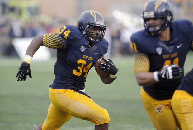 Oct 5, 2013; Kent, OH, USA; Kent State Golden Flashes running back Trayion Durham (34) runs against the Northern Illinois Huskies during the second quarter at Dix Stadium. Mandatory Credit: Ken Blaze-USA TODAY Sports