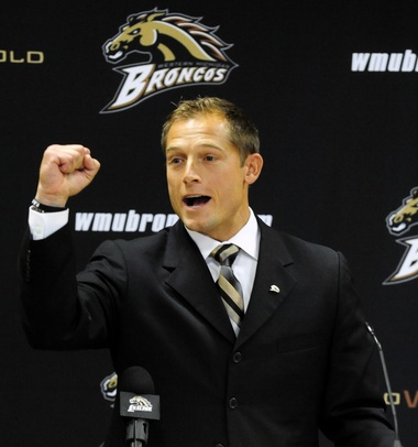 P.J. Fleck speaks to the crowd gathered in the 'W' Club after Western Michigan University Athletic Director Kathy Beauregard made the announcement of Fleck as the new Head Football Coach replacing Bill Cubit. Date Shot 12-18-2012 (Matt Gade | MLive.com)