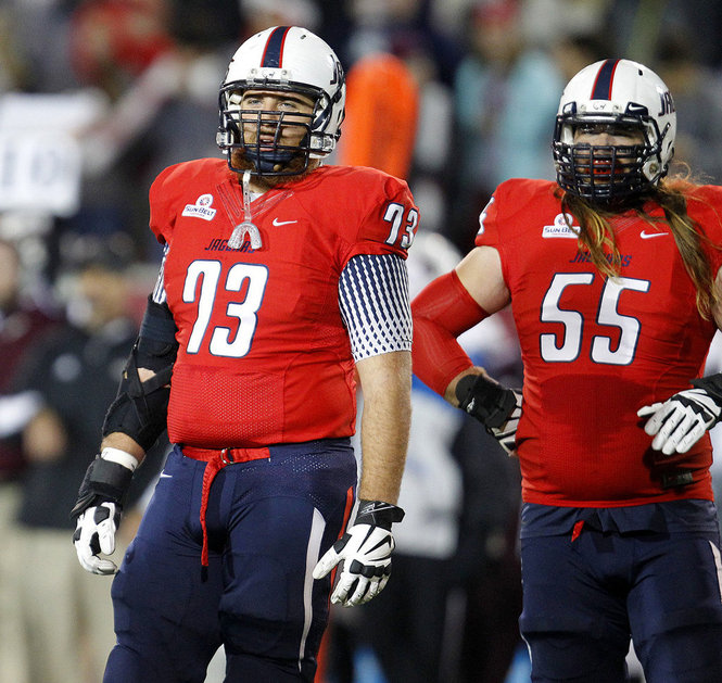 USA Linemen Chris May (55) and Shaun Artz (73) (Photo Courtesy of Mike Kittrell/mkittrell@al.com)