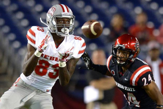 UNLV WR Devonte Boyd hauls in a pass against SDSU (Phot Courtesy of USA TODAY Sports)