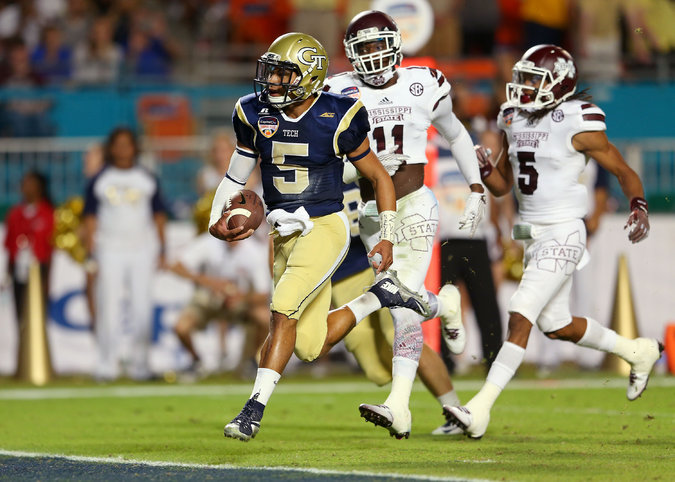 GT QB Justin Thomas runs into the end zone for a TD in the Orange Bowl against Miss. State (Photo Courtesy of Mike Ehrmann/Getty Images)