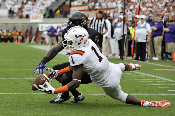 VT WR Isaiah Ford hauls in a touchdown pass against ECU (Photo Courtesy of Michael Shroyer/Getty Images North America)