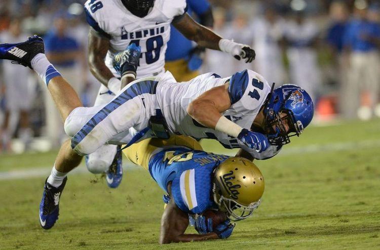 Memphis DE Jackson Dillon makes tackle against UCLA (Photo Courtesy of Jayne Kamin-Oncea/USA TODAY Sports)