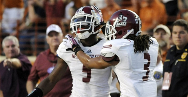 NMSU DBs King Davis III and Derek Ibekwe (Photo Courtesy of New Mexico State Sports Communications)