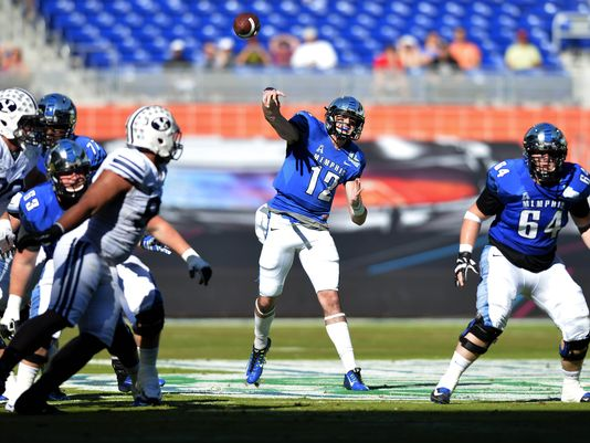 Memphis QB Paxton Lynch (Photo Courtesy of Steve Mitchell/USA TODAY Sports)