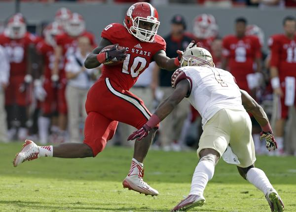 NCSU RB Shadrach Thornton (Photo Courtesy of AP Photo/Gerry Broome)