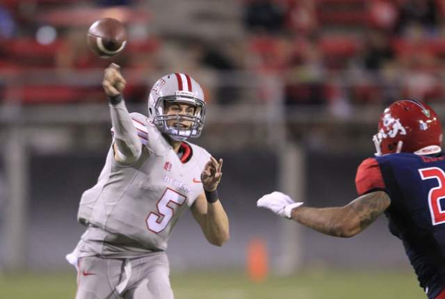 UNLV QB Blake Decker throws a pass against Fresno State (Photo Courtesy of Sam Morris/Las Vegas Review-Journal)