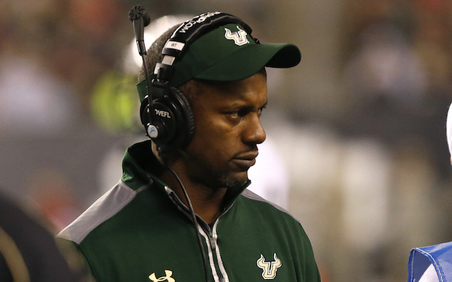 Oct 24, 2014; Cincinnati, OH, USA; South Florida Bulls head coach Willie Taggart looks on from the sidelines in the first half against the Cincinnati Bearcats at Paul Brown Stadium. Mandatory Credit: Aaron Doster-USA TODAY Sports