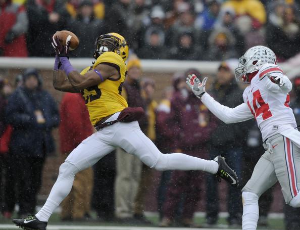 Minn CB Briean Boddy-Calhoun intercepts a pass against OSU (Photo Courtesy of Hannah Foslien/Getty Images North America)