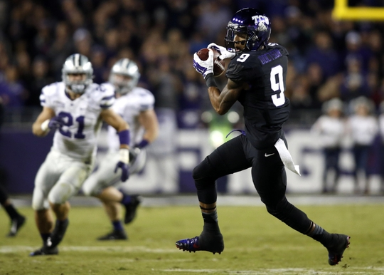 Nov 8, 2014; Fort Worth, TX, USA; TCU Horned Frogs wide receiver Josh Doctson (9) catches a pass in the first quarter against the Kansas State Wildcats at Amon G. Carter Stadium. Mandatory Credit: Tim Heitman-USA TODAY Sports