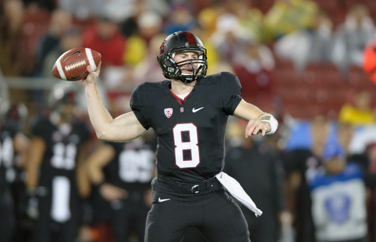 Stanford, Ca - Friday, November 30, 2012: Stanford vs UCLA in the Pac 12 Championships at Stanford University. Kevin Hogan throws the ball downfield. (Photo Courtesy of George Chen/Stanford Daily)