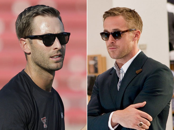 "Left: Kliff Kingsbury, Right: Ryan Gosling (Photo Courtesy of AP Photo/""Crazy Stupid Love"")"