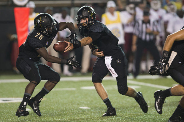 VU RB Ralph Webb takes a handoff from QB Patton Robinette (Photo Courtesy of AP Photo/Brian Powers)