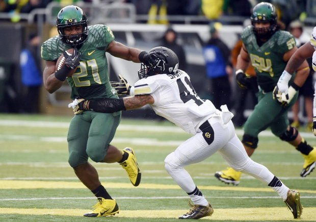 UO RB Royce Freeman (Photo Courtesy of AP Photo/Steve Dykes)