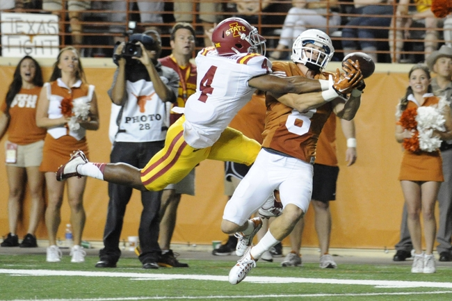Oct 18, 2014; Austin, TX, USA; (Editor's Note: Caption Correction) Iowa State Cyclones cornerback Sam E Richardson (4) interferes with a reception attempt by Texas Longhorns wide receiver Jaxon Shipley (8) during the second half at Darrell K Royal-Texas Memorial Stadium. Texas beat Iowa State 48-45. Mandatory Credit: Brendan Maloney-USA TODAY Sports