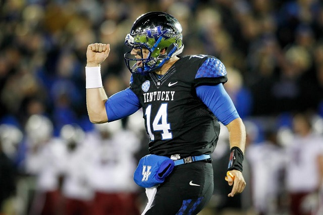 Patrick Towles.The University of Kentucky football team defeats South Carolina 45-38 on Saturday, October 4, 2014 at Lexington's Commonwealth Stadium. Photo by Chet White | UK Athletics