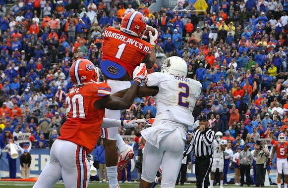 UF CB Vernon Hargreaves III picks off a pass against ECU (Photo Courtesy of Marvin Gentry/USA TODAY Sports)