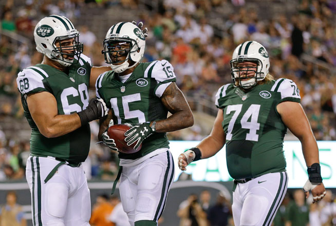 NYJ WR Brandon Marshall (Photo Courtesy of Adam Hunger/The Associated Press)
