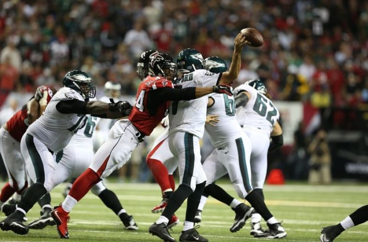 Falcons DE VIc Beasley hits Eagles QB Sam Bradford (Photo Courtesy of Jason Getz/USA TODAY Sports)