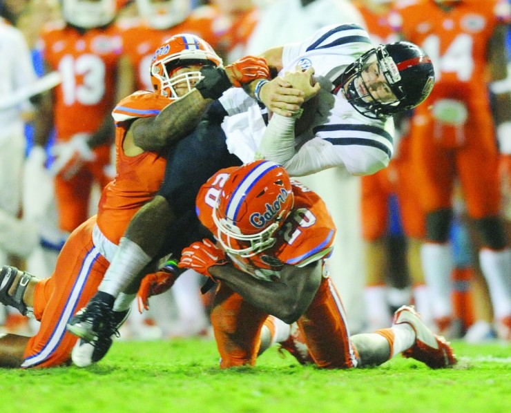 Ole Miss QB Chad Kelly taking one of 15,000 hits versus Florida