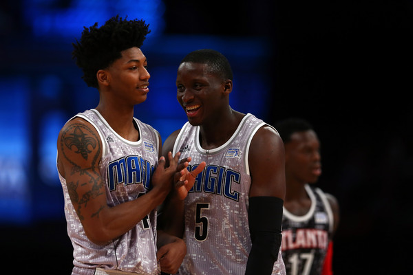 Magic Guards Elfrid Payton and Victor Oladipo (Photo Courtesy of Elsa/Getty Images North America)