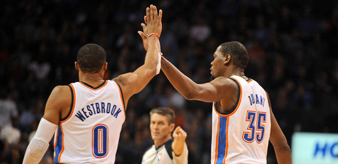Russell Westbrook and Kevin Durant (Photo Courtesy of Fox Sports)
