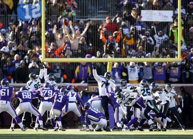Minnesota K Blair Walsh misses a game-winning field goal against Seattle in last Sunday's Wild Card Game (Photo Courtesy of Bruck Kluckhohn/USA TODAY Sports)